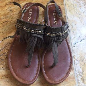 Report Laufer beaded boho fringe thong sandals